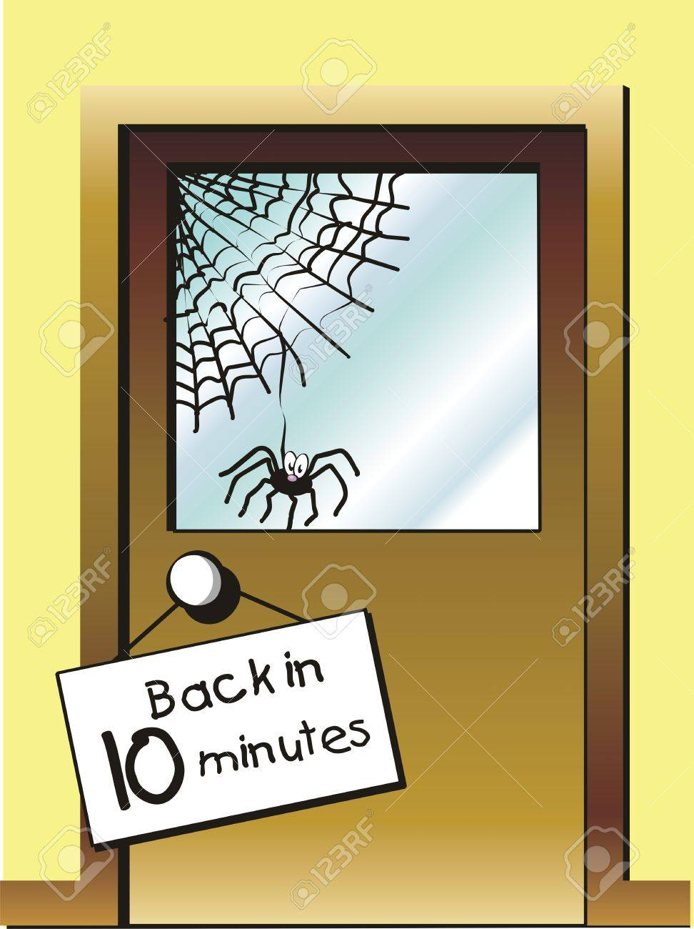 Customer service. There is no one to serve customers. Fatal notice, Back in 10 minutes. Stock Vector - 21984167