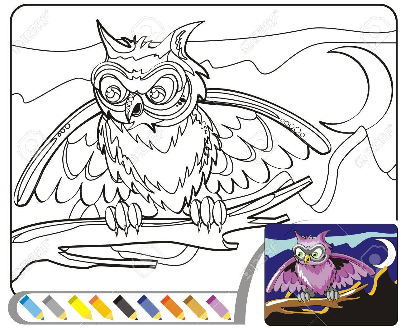 Colorear Los Noctámbulos Un Conjunto De Dibujos Para Colorear En Blanco Y Negro Pintar El Dibujo Blanco Siguiendo Los Detalles De La Imagen En