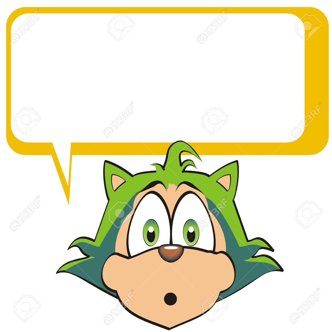 text box clipart. sympathetic green kitten with empty text box for you to fill the desired clipart