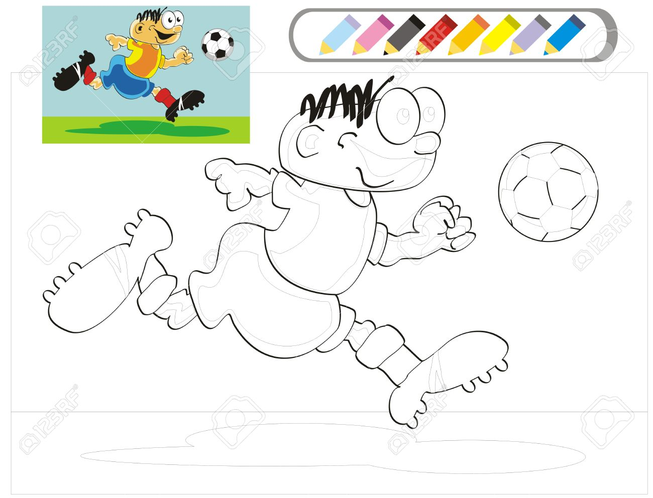 The Soccer Player Coloring Page With Example In Color Painting White Sketch