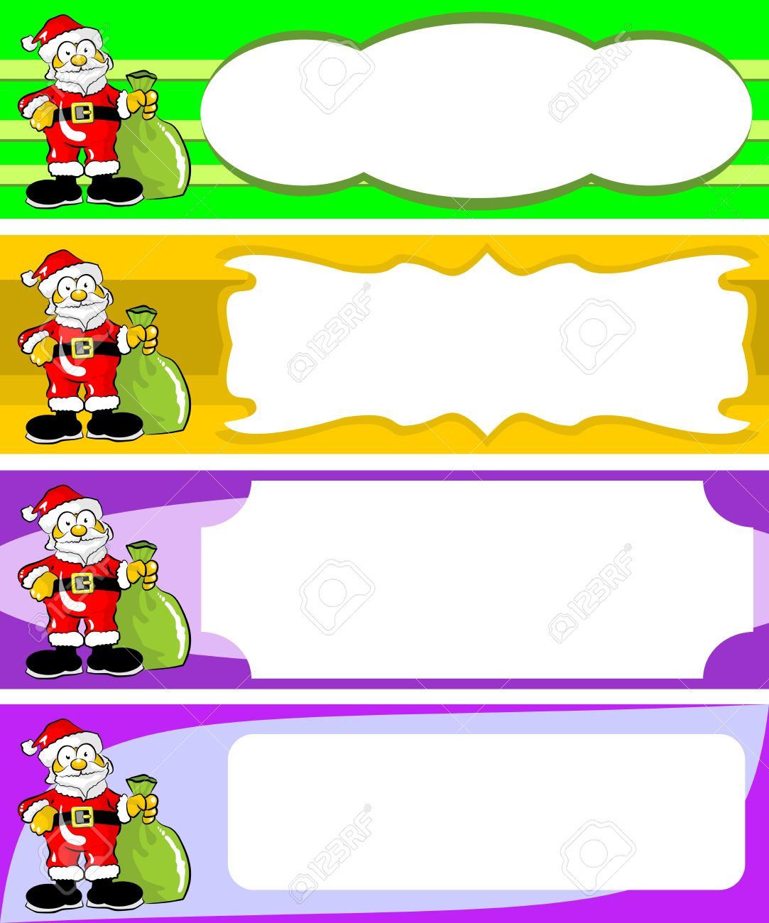 Set Of Four Christmas Cards With Santa Claus With Blank Space – Blank Xmas Cards