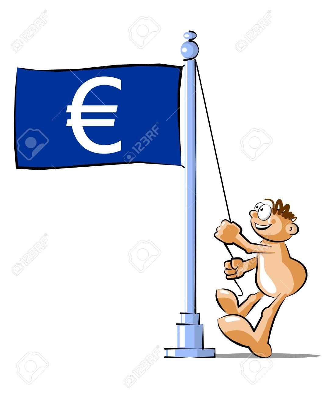 Funny Cartoon Raising A Flag With Euro Sign Conceptual Illustration