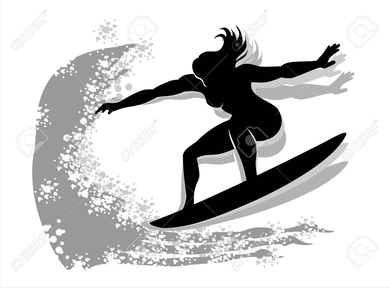 Woman Surfing Silhouette Isolated On White Background