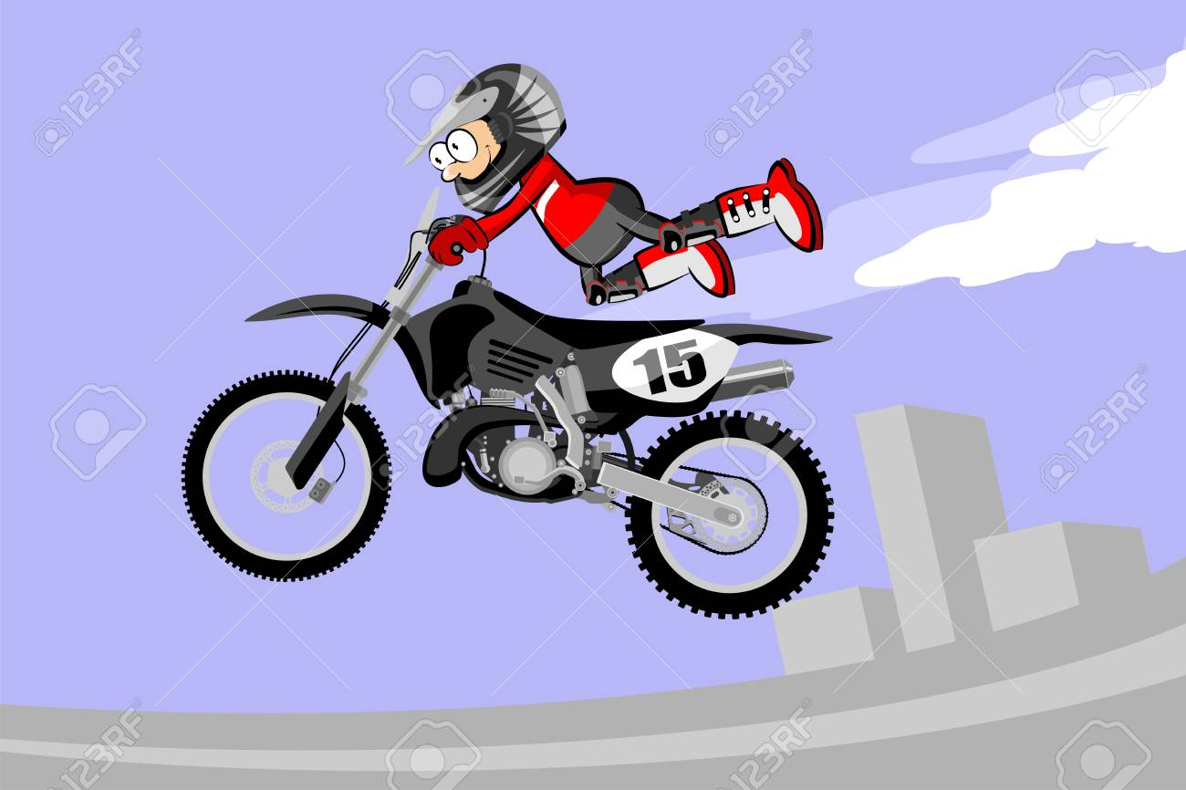 Motocross Rider Performing A High Jump Cartoon Style Conceptual Royalty Free Cliparts Vectors And Stock Illustration Image 77835190