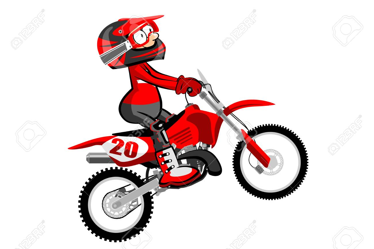 Motocross Rider Isolated Over White Backgrorund Cartoon Style Royalty Free Cliparts Vectors And Stock Illustration Image 77834950