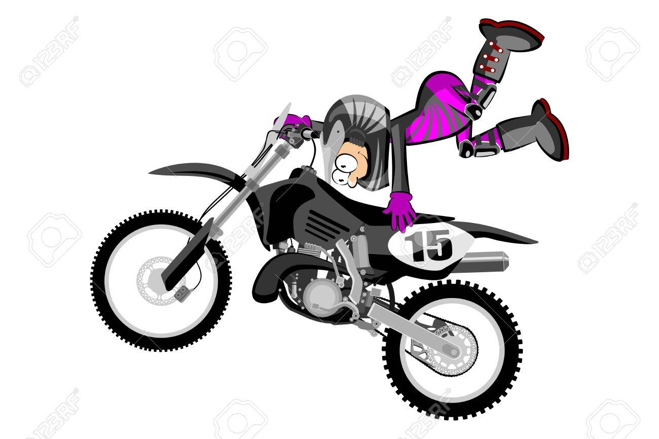 Motocross Rider Isolated Over White Backgrorund Cartoon Style Royalty Free Cliparts Vectors And Stock Illustration Image 77835313