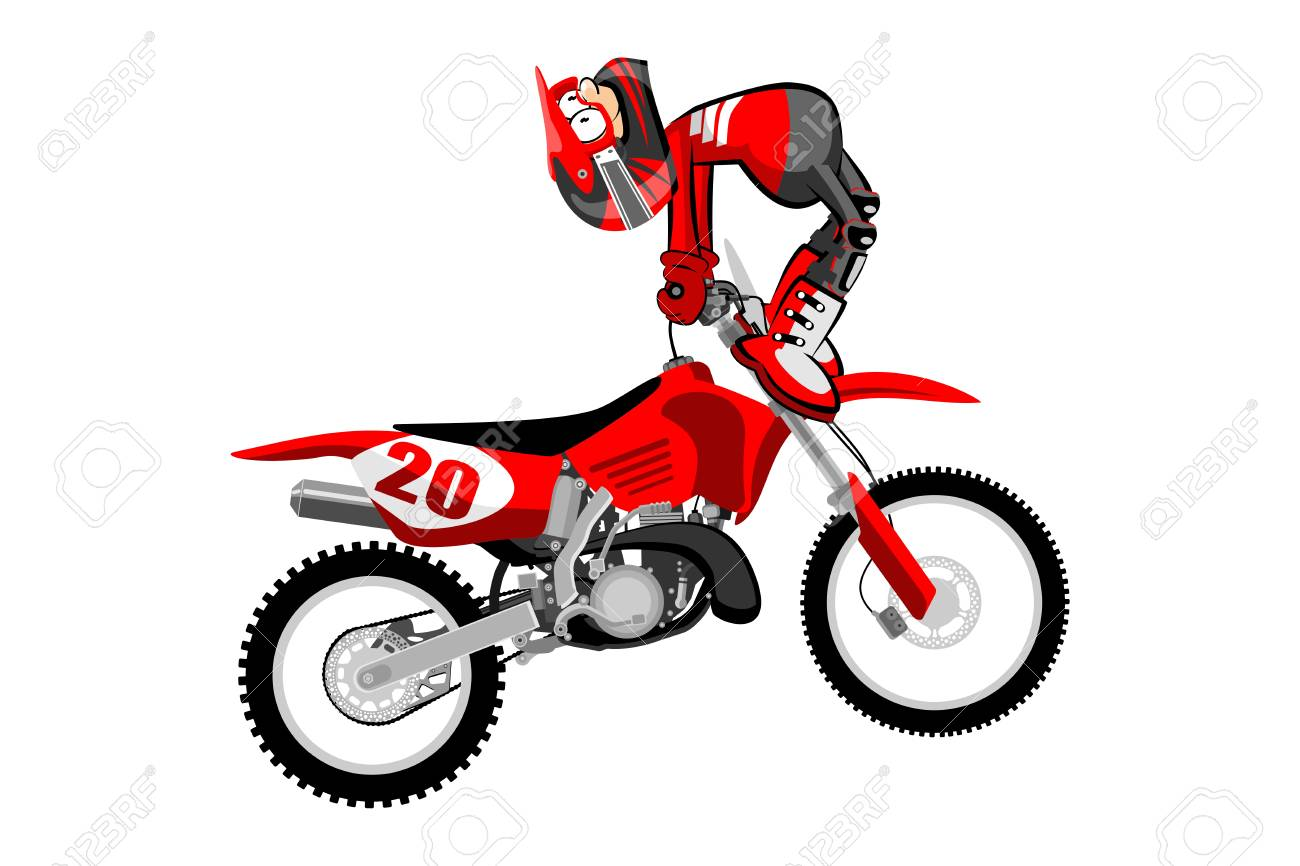 Motocross Rider Isolated Over White Backgrorund Cartoon Style Royalty Free Cliparts Vectors And Stock Illustration Image 77835319