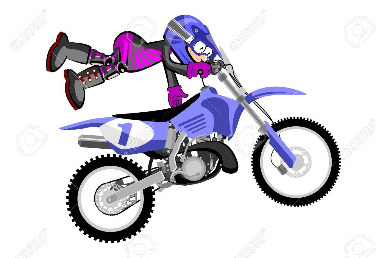 Motocross Rider Isolated Over White Backgrorund Cartoon Style Royalty Free Cliparts Vectors And Stock Illustration Image 77835321