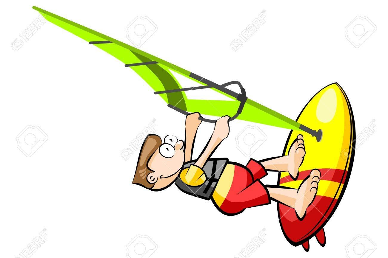 Caricature De Planche A Voile Isole Sur Blanc Illustration Vectorielle Conceptuelle Clip Art Libres De Droits Vecteurs Et Illustration Image 78913074