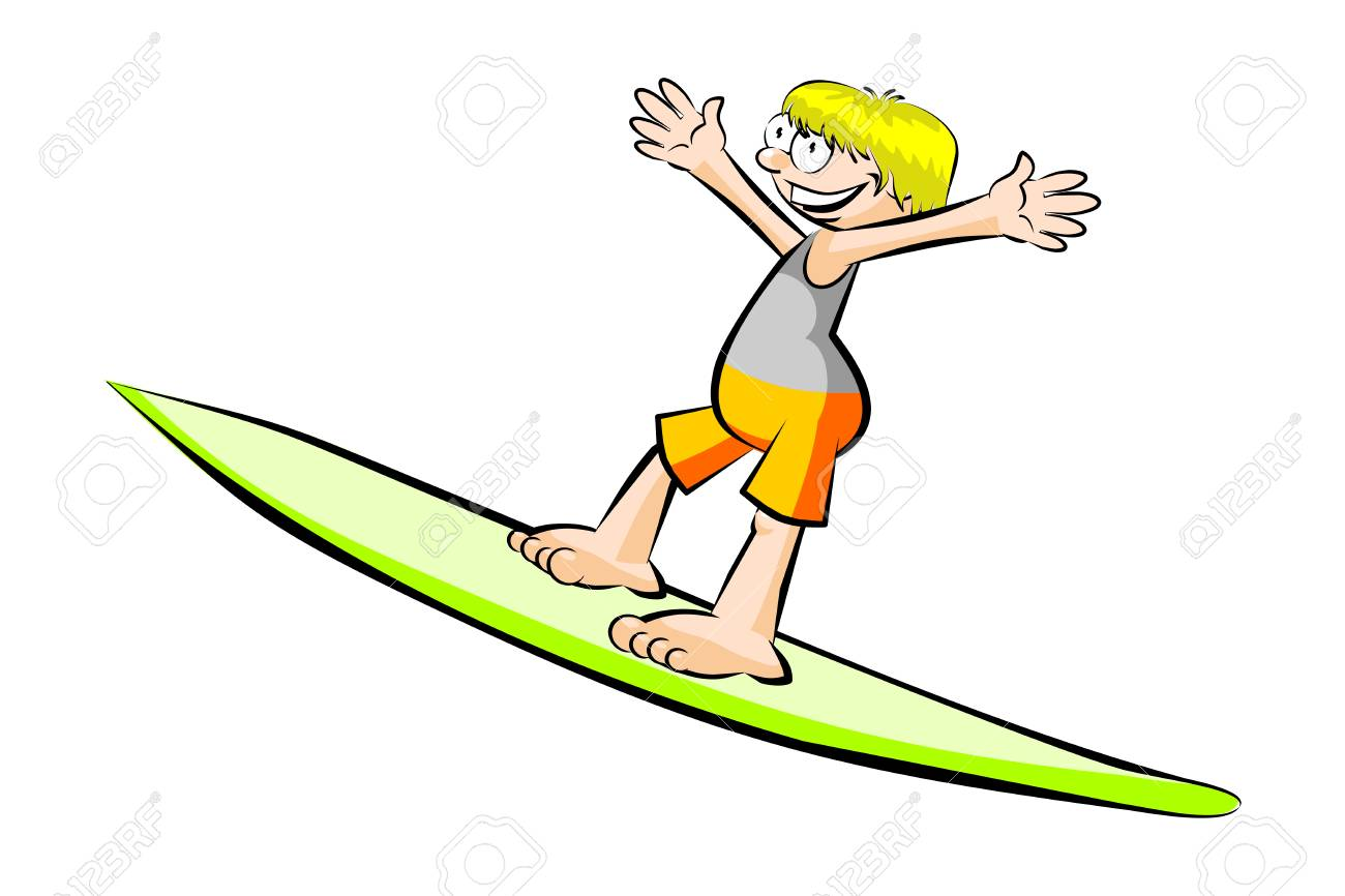 funny surfer isolated on white conceptual vector illustration rh 123rf com Funny Old Surfer Cartoon Surfer