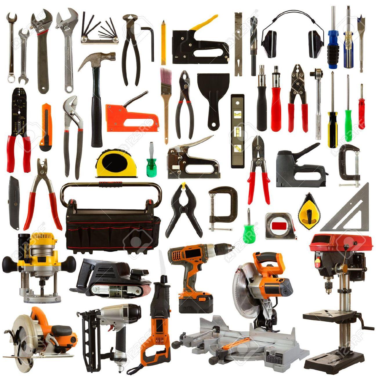 Zimmerer werkzeug set  Werkzeug-Collage Auf Weißem Hintergrund Darstellt Zimmerer-und ...