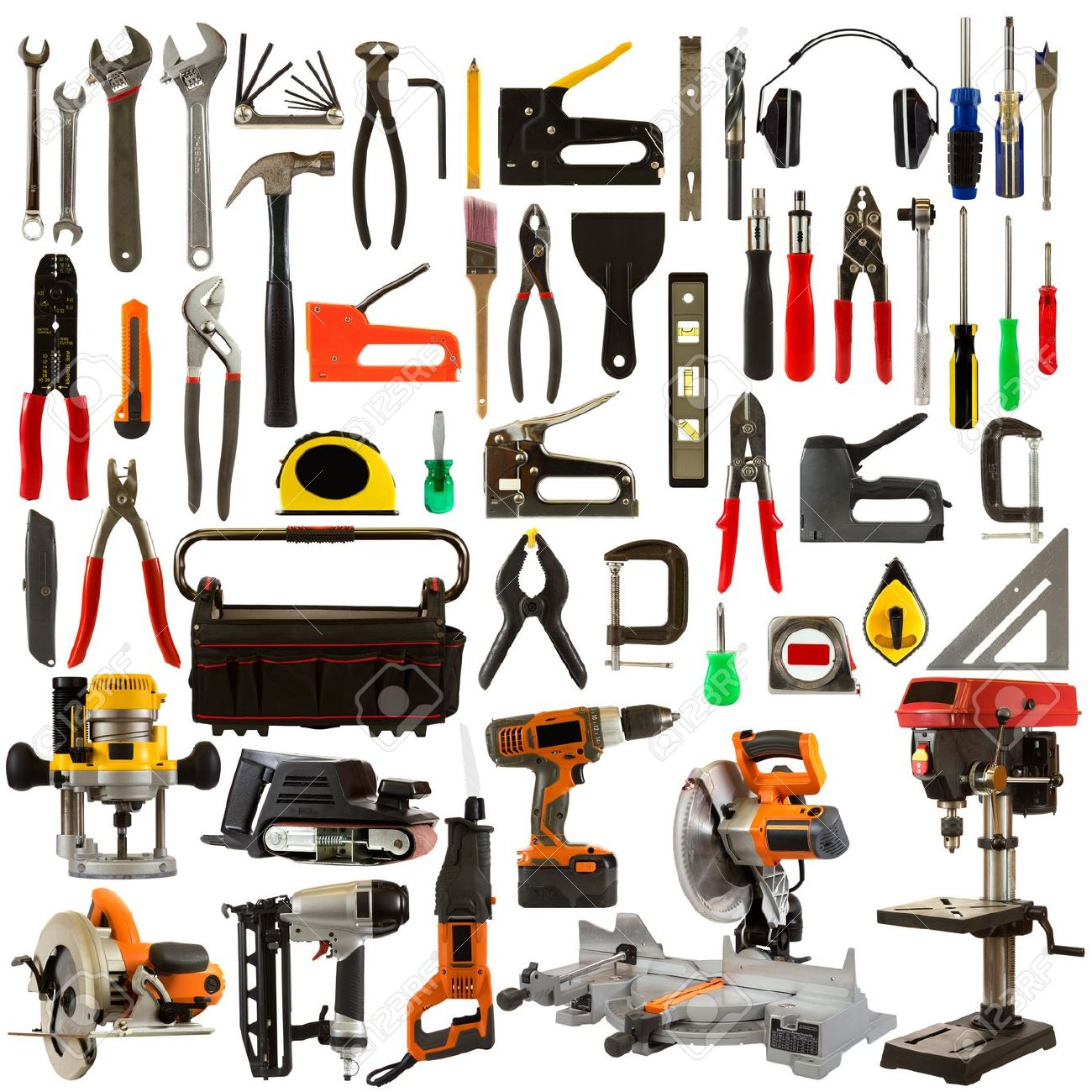 Tool collage isolated on a white background depicting carpentry and construction tools. Stock Photo - 14506627