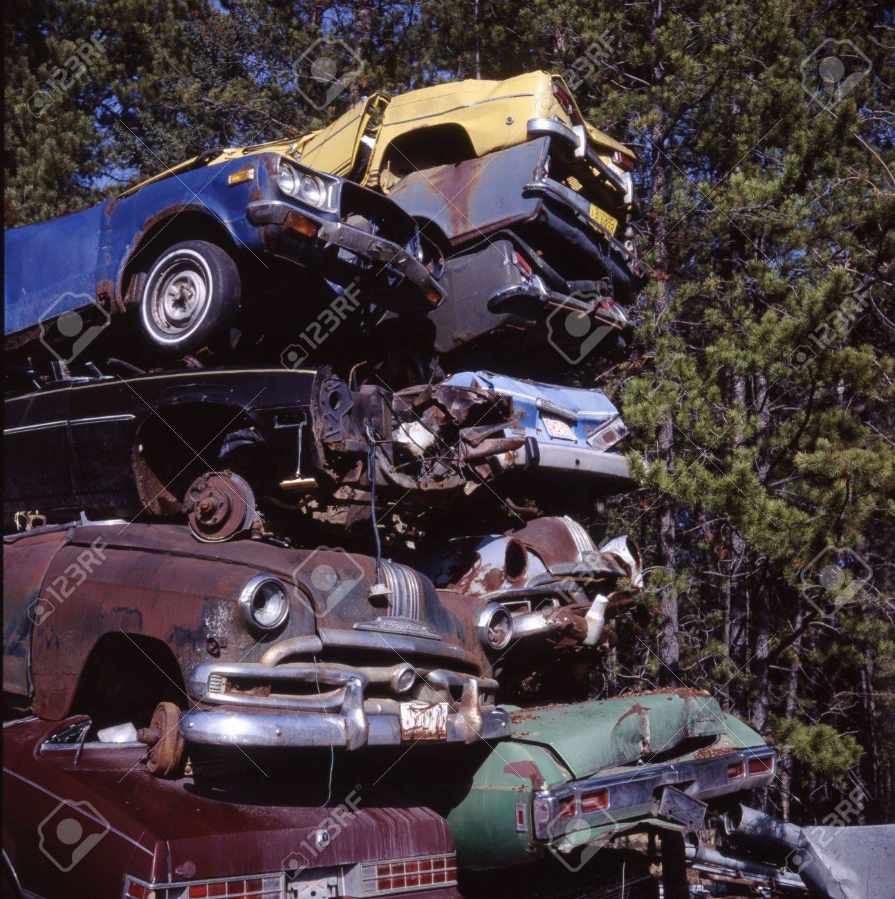 Pile Of Scrapped Vintage Cars. Stock Photo, Picture And Royalty Free ...