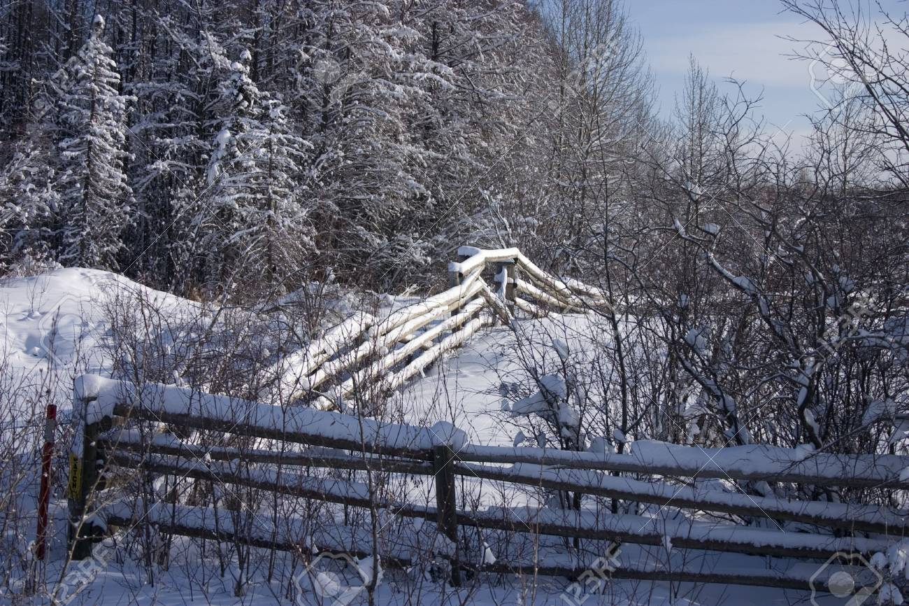 Snow covered fence on a cold winter day. Stock Photo - 2410468