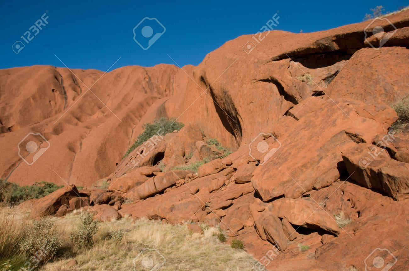 detail of the biggest rock in the world - Uluru, also known as Ayers Rock, in Central Australia Stock Photo - 5328268