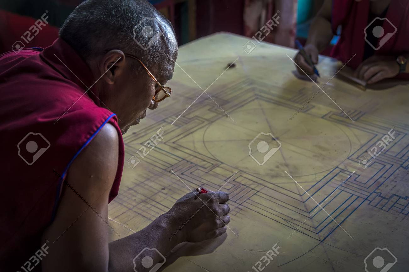 Diskit India August 20 2015 View Of Buddhist Monk Working