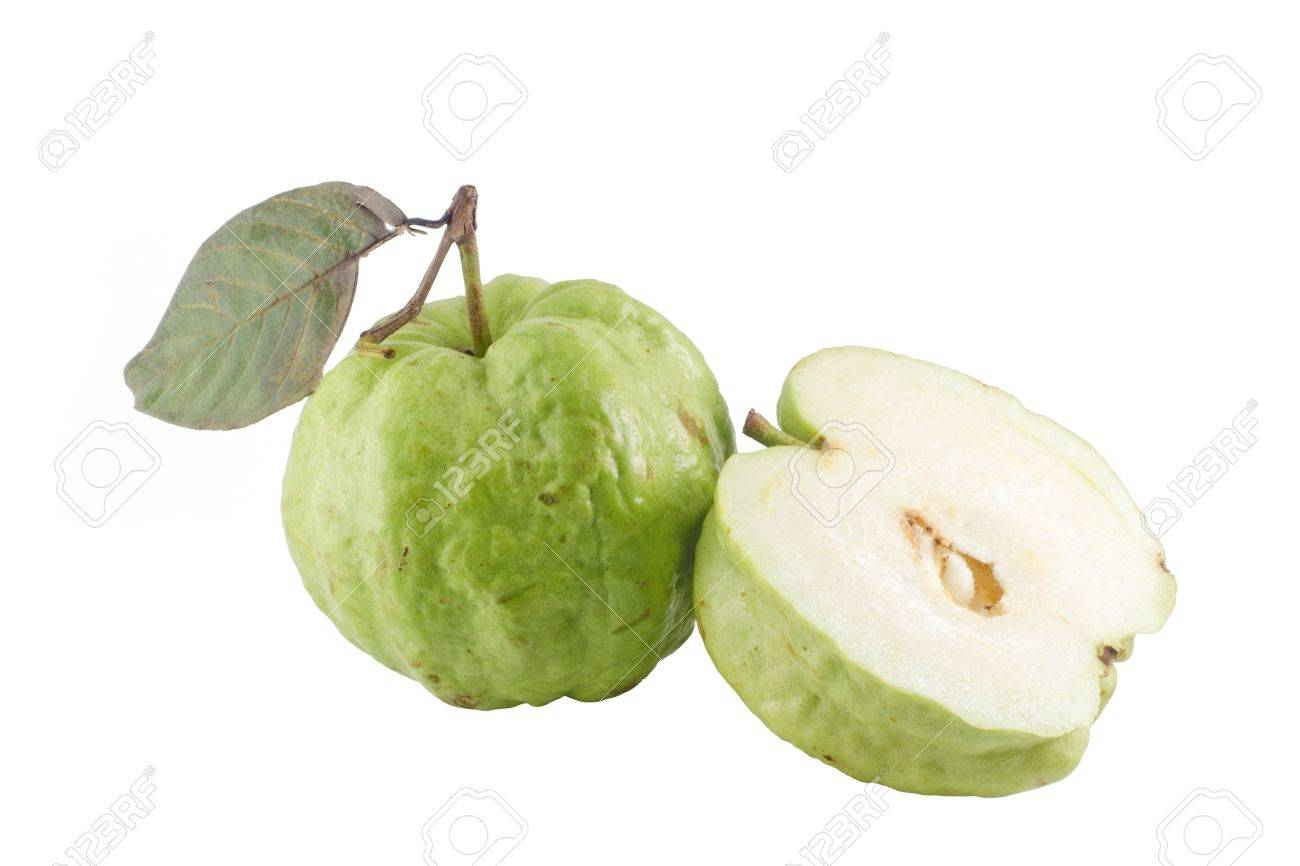 Ripe Guavas and its half . Isolated on a white. Stock Photo - 8769202