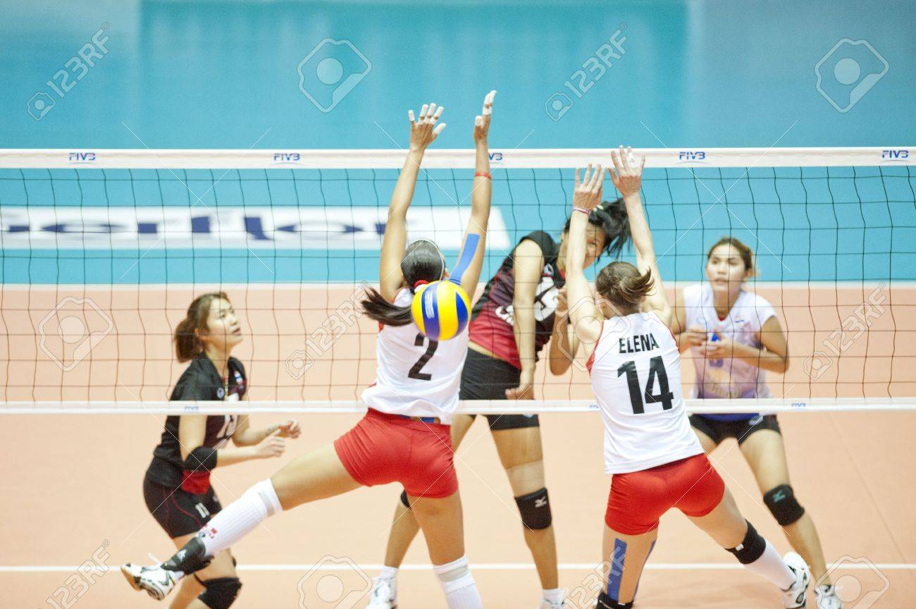 Volleyball World Championships 2011 Thailand vs Peru at Nakhonpathom in Thailand on August 05, 2011  Stock Photo - 10230524