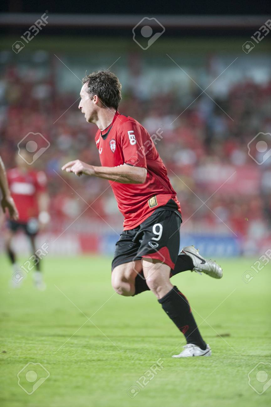 BANGKOK THAILAND- AUGUST 10 :Robbie Fowler (9) of MTUTD during in Thai Premier League (TPL) between Muangthong United vs Bangkok Glass Fc on August 10, 2011 at Yamaha Stadium Bangkok, Thailand  Stock Photo - 10230532