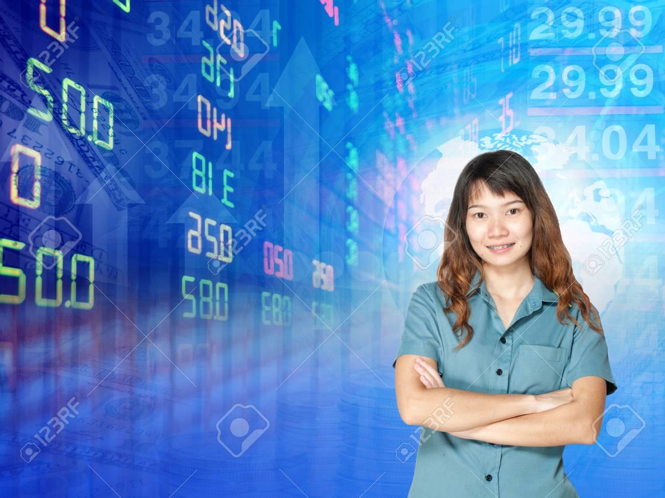 Empresaria O Agente De Bolsa Grafico De Bolsa De Valores