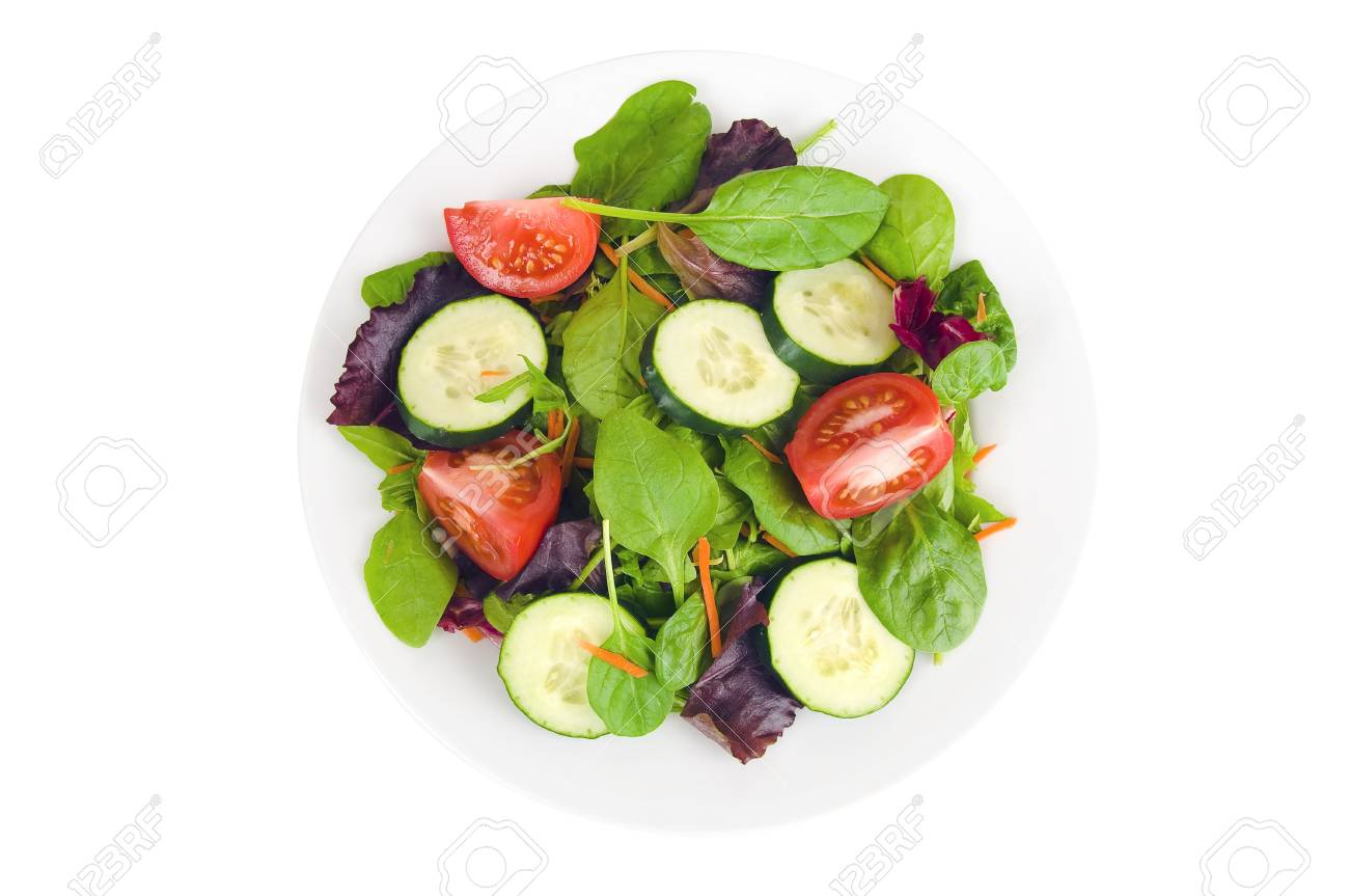 A Fresh Garden Salad On A White Plate Isolated On A White Background
