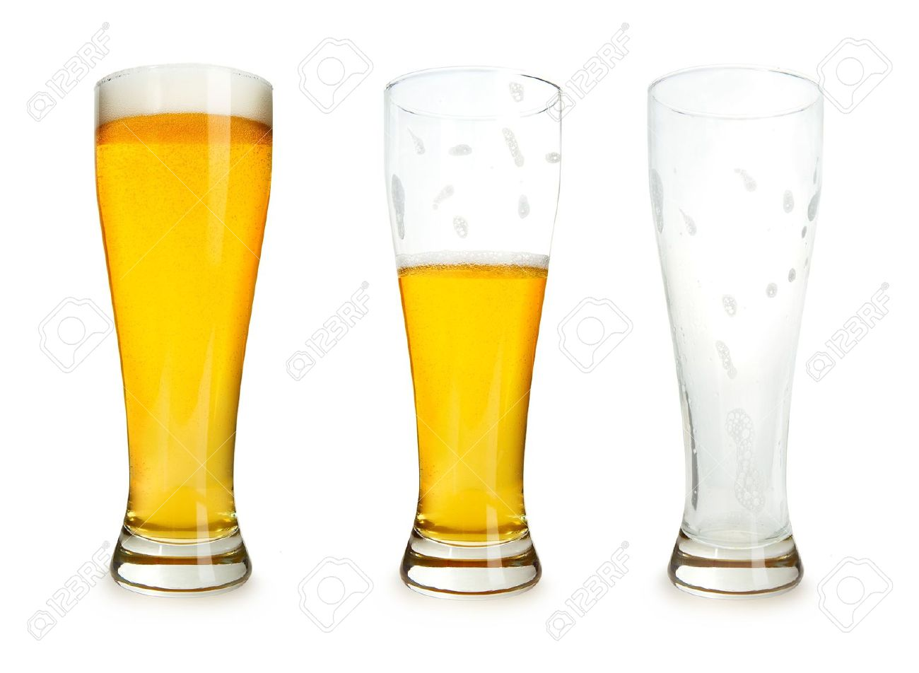 Three glasses of beer with one full, one half gone, and one empty on a white background. Stock Photo - 6817965
