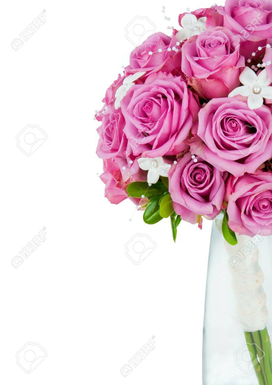 A Wedding Flower Bouquet Isolated On A White Background With.. Stock ...