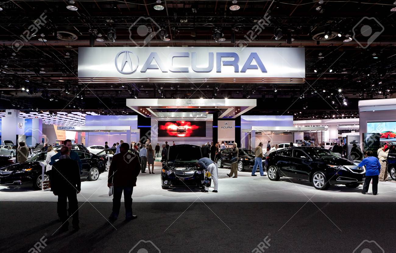 DETROIT - JANUARY 11: The Acura display at the 2012 North American International Auto Show Industry Preview on January 11, 2012 in Detroit, Michigan.  Stock Photo - 11987513