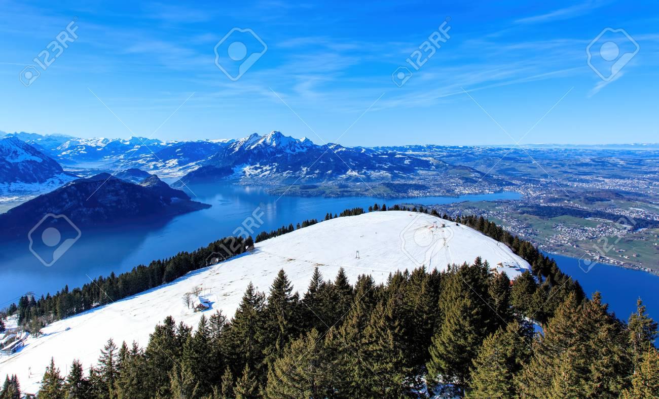 view from mt rigi in winter the rigi or mount rigi also known