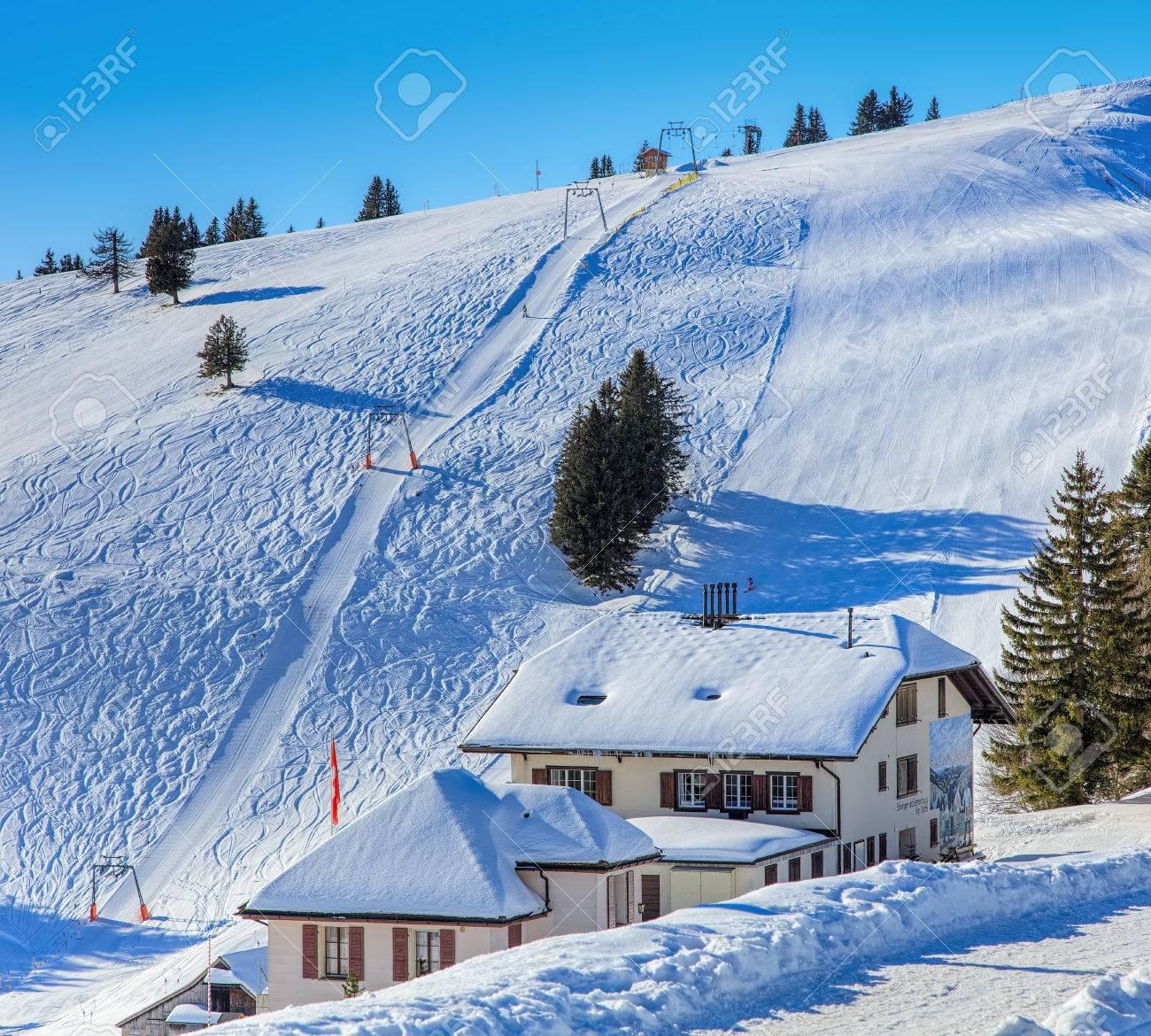 mt rigi switzerland 25 january 2016 ski track at the rigi