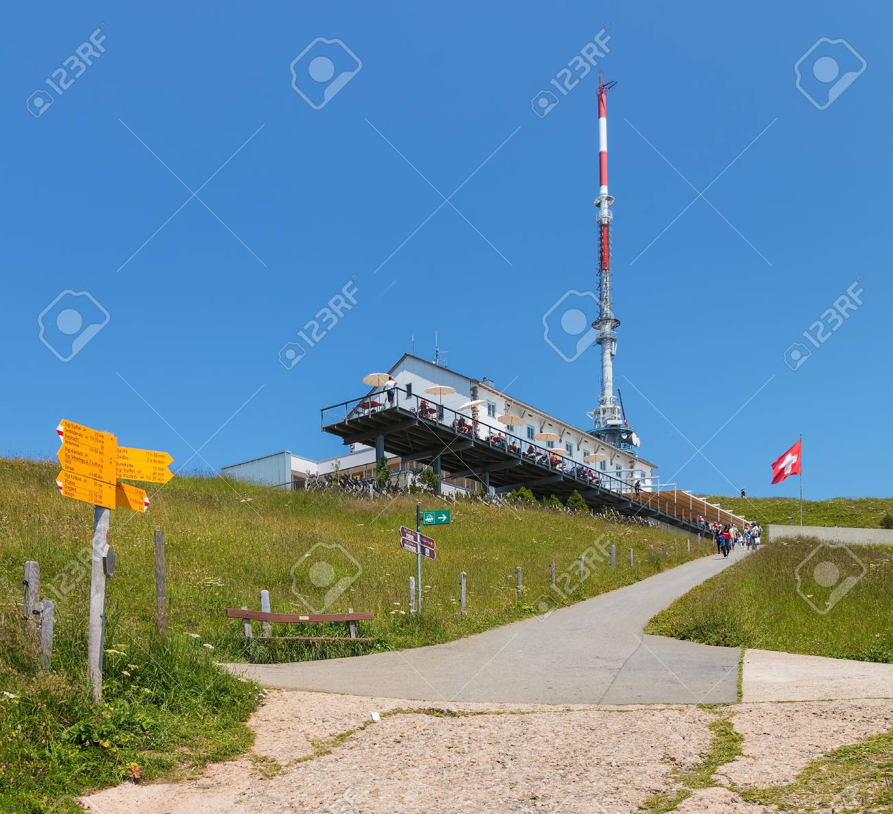 mt rigi switzerland july 19 2018 view on the top of the