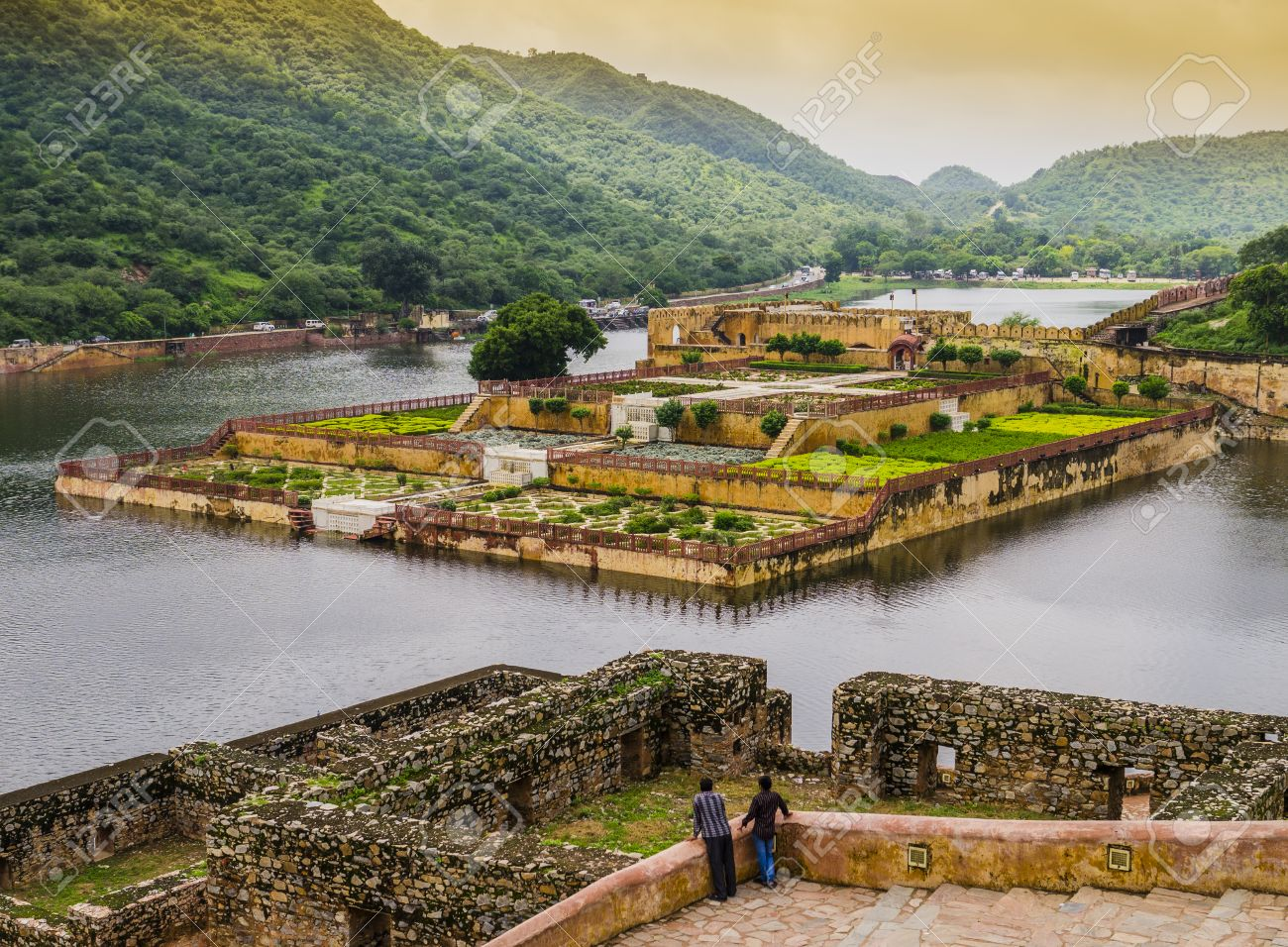 Amber Fort Gardens On Maota Lake, Jaipur, India Stock Photo, Picture ...