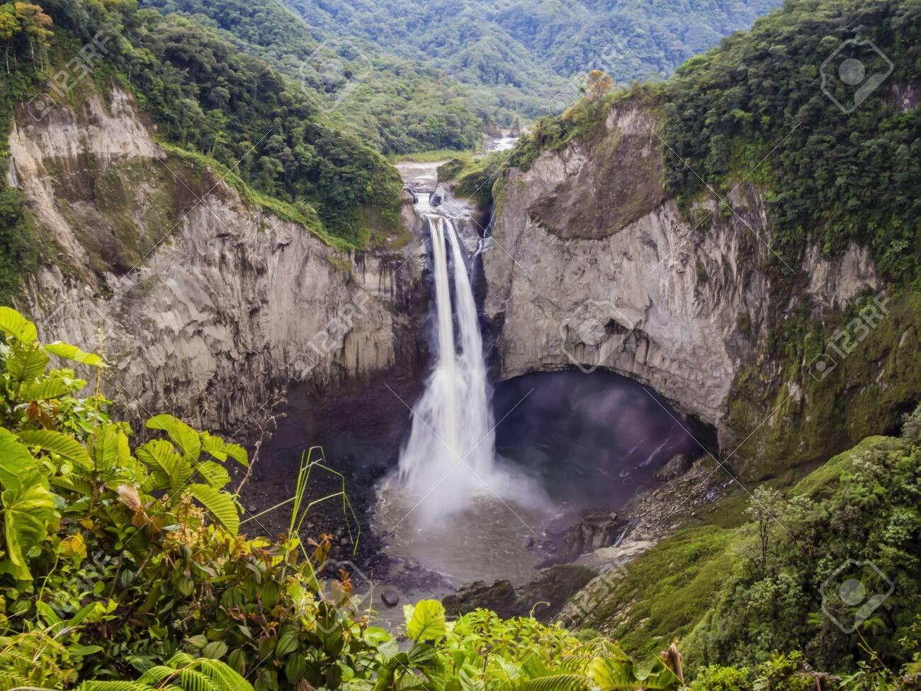 Majestic San Rafael waterfalls in the lush rainforest of Ecuadorian Amazon - 133166921