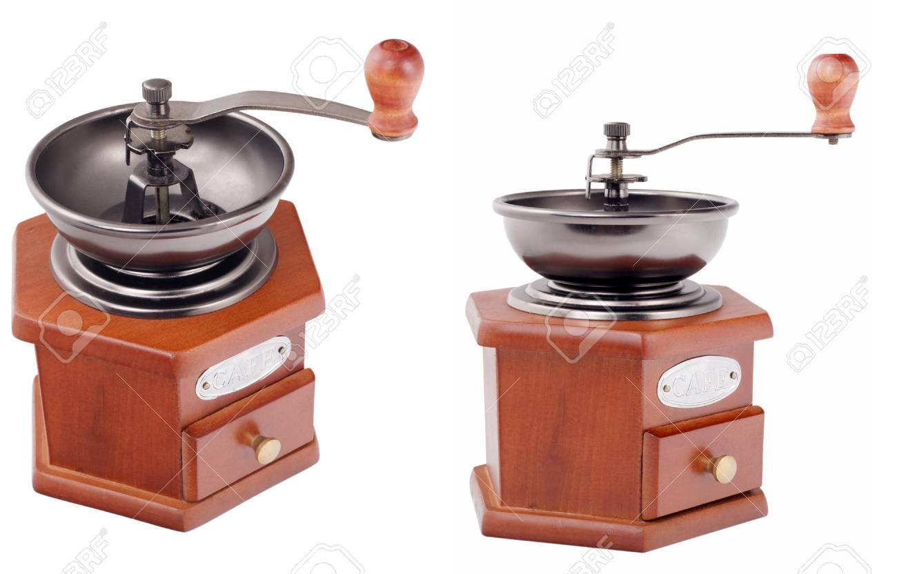 retro coffee grinder on white background Stock Photo - 15120217