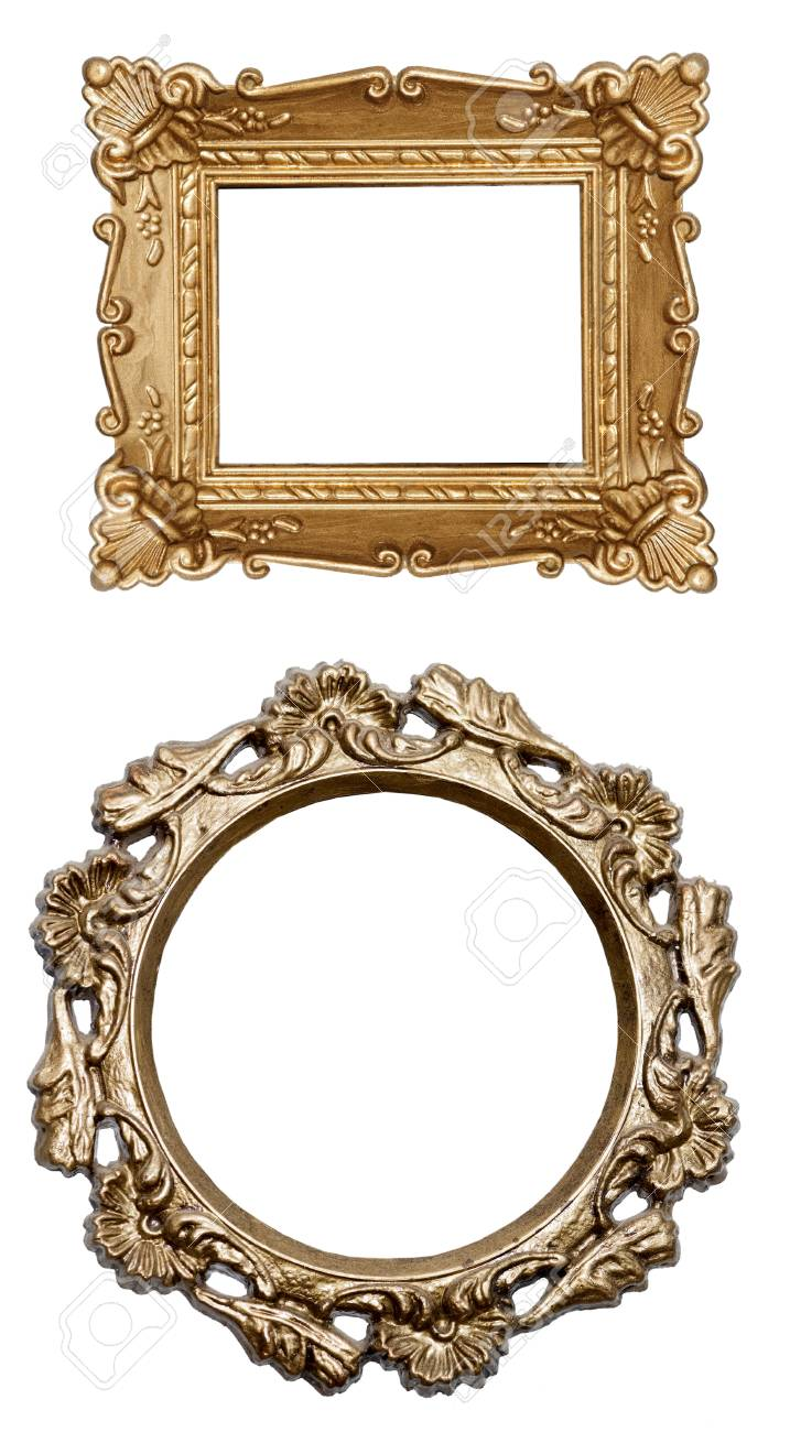 set a carved frame isolated on white background Stock Photo - 16409283