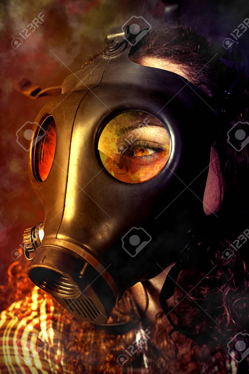 person in a gas mask looking for accident Stock Photo - 17501772
