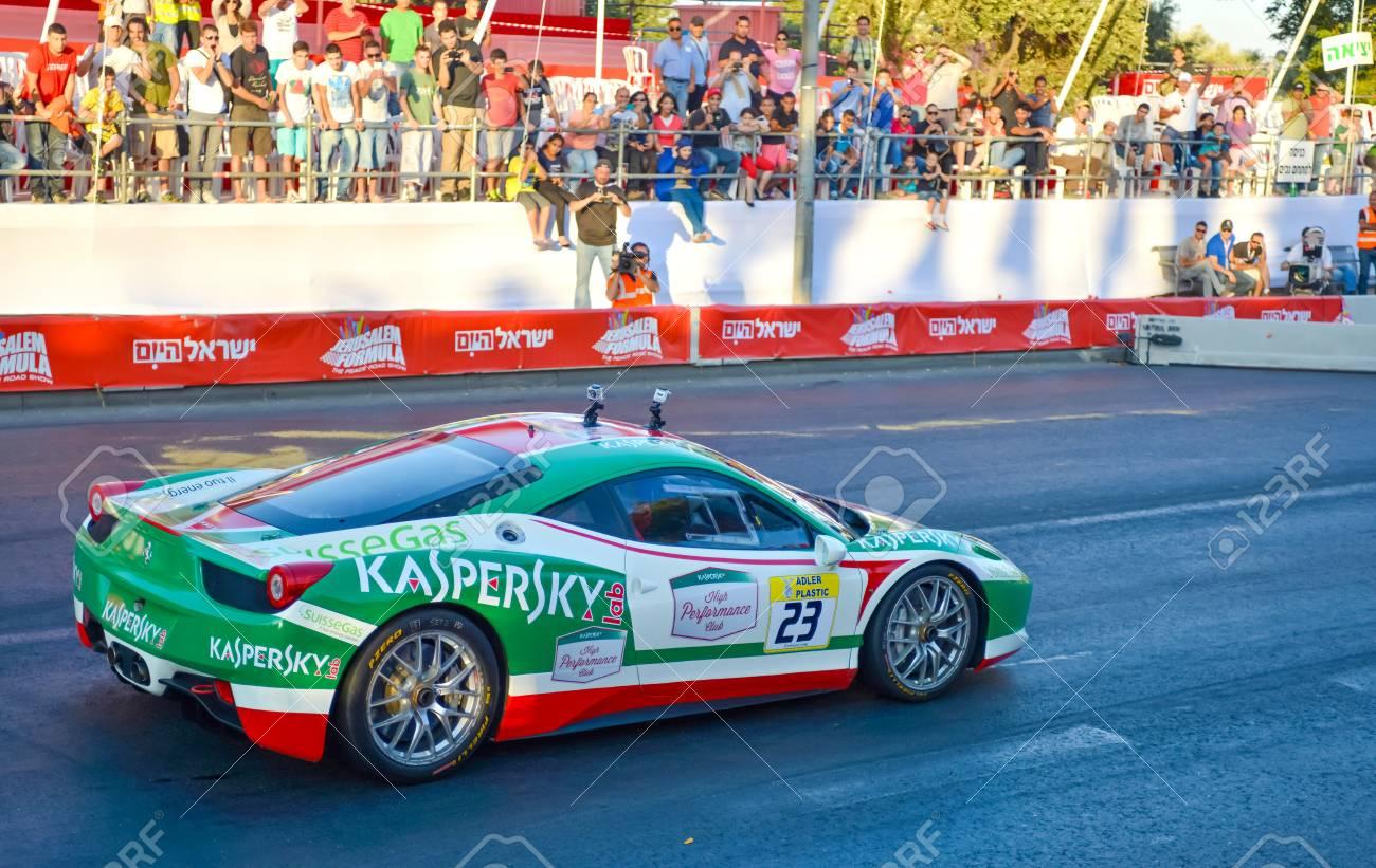 Jerusalem Israel 13 June 2013 Green Ferrari Racer Arranged Stock Photo Picture And Royalty Free Image Image 20553538