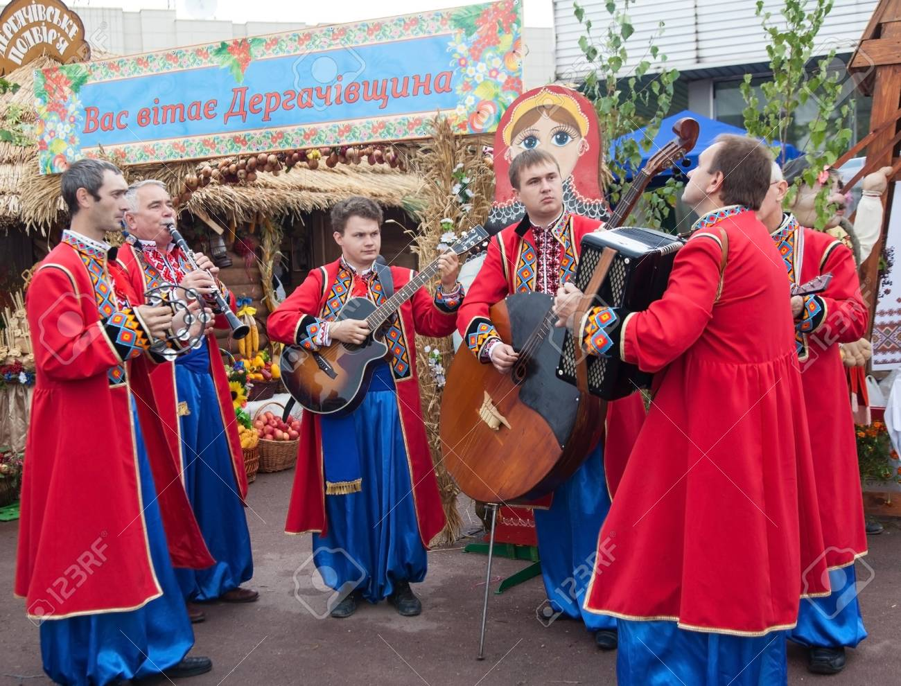 people having fun playing music, entertain people at the fair Stock Photo - 22190617