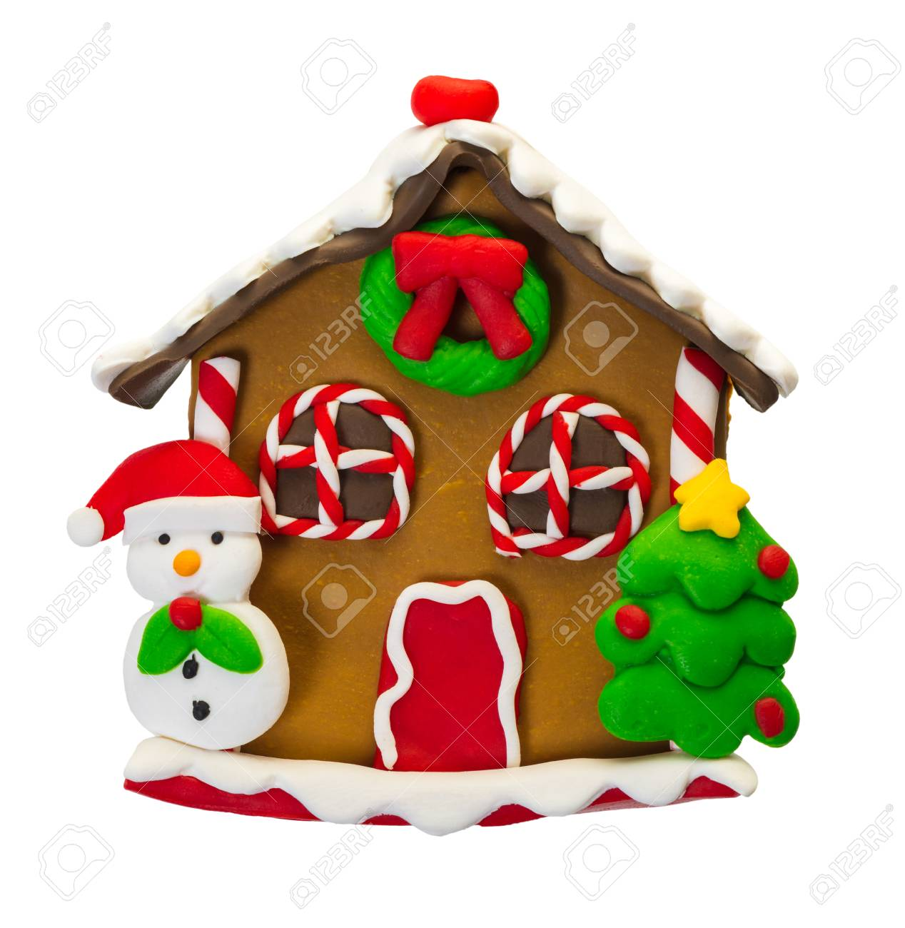 Christmas Gingerbread House Cartoon.Christmas Gingerbread House On White Isolated Background
