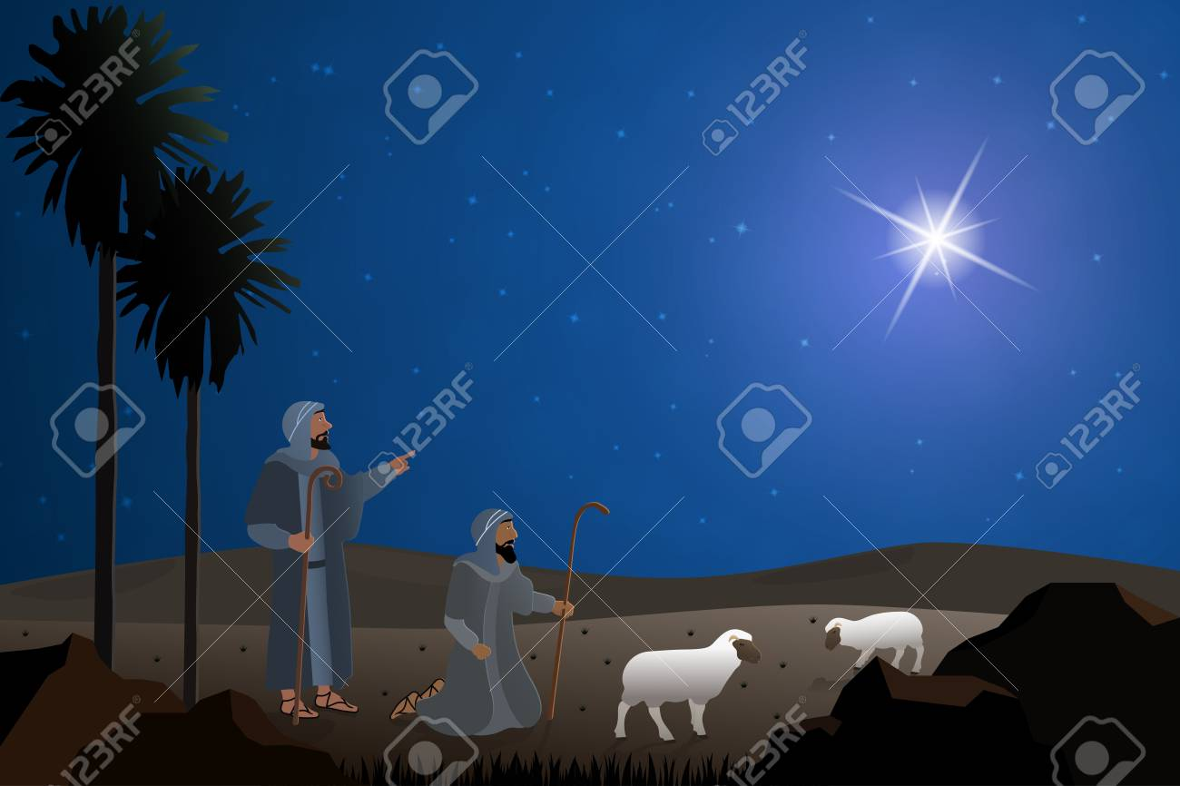 Christmas time. The shepherd's in the fields with sheeps - 90784054