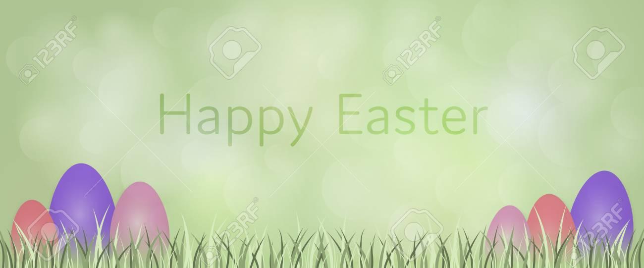イースターの背景。前景に卵と草と緑の風景。のイラスト素材・ベクタ ...