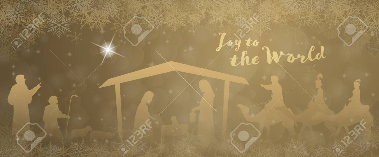 Christmas time. Nativity scene with Mary, Joseph, baby Jesus, shepherds and three kings in Christmas landscape. - 111703955