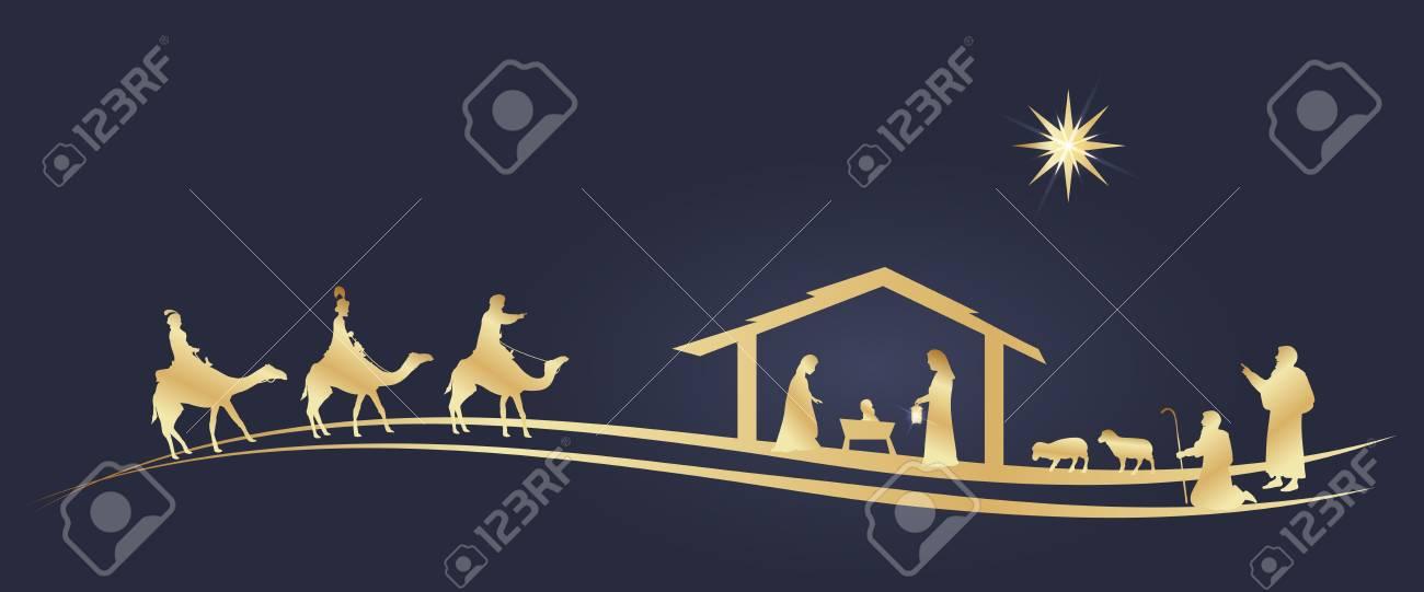 Christmas time. Nativity scene with Mary, Joseph, baby Jesus, shepherds and three kings. - 111704117