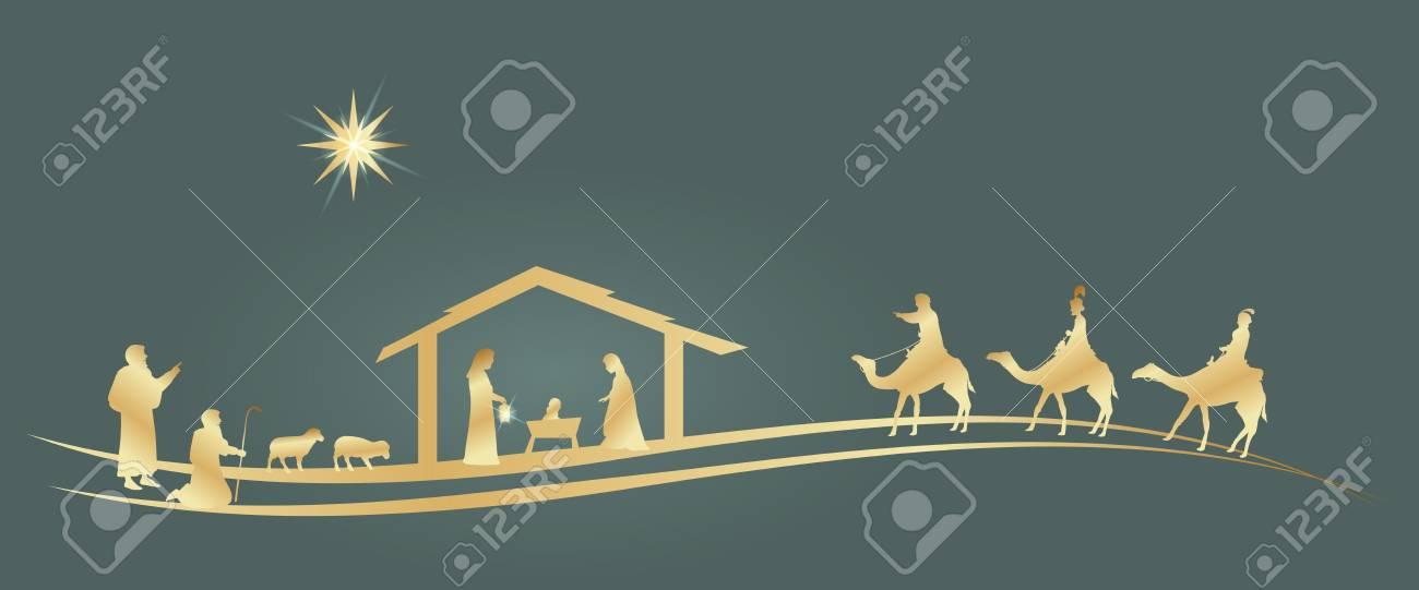 Christmas time. Nativity scene with Mary, Joseph, baby Jesus, shepherds and three kings. - 111704119