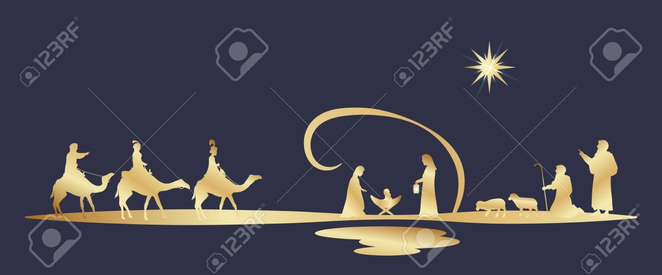 Christmas time. Nativity scene with Mary, Joseph, baby Jesus, shepherds and three kings. - 111704122