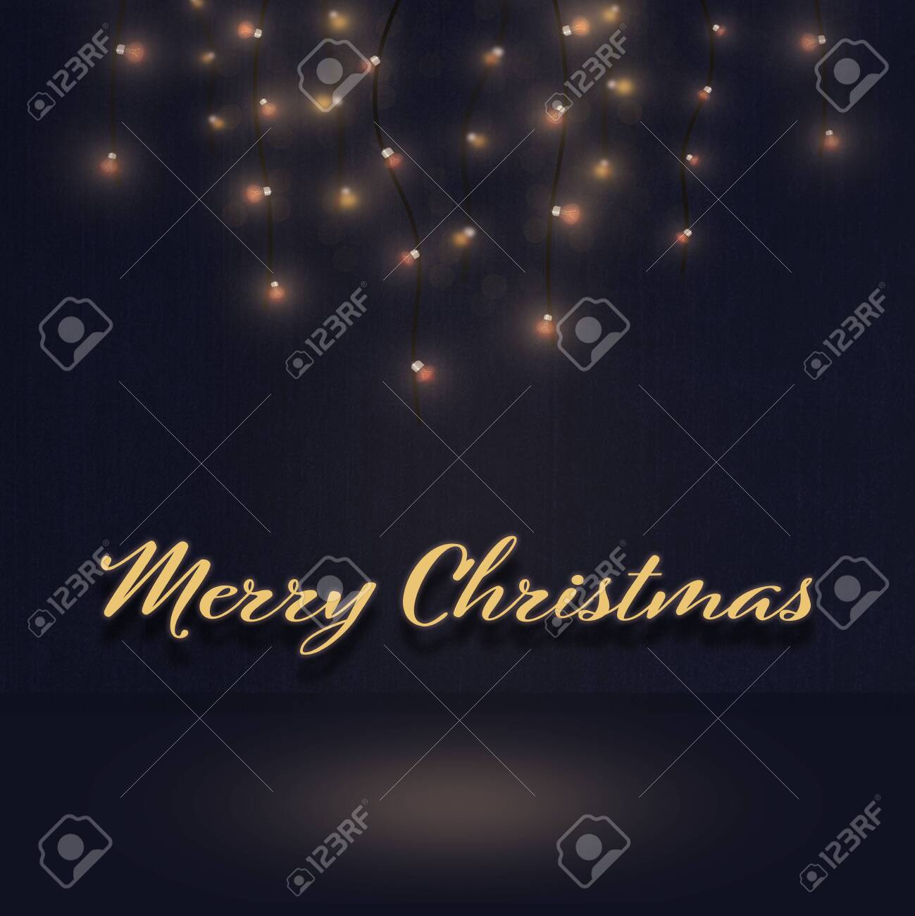 Christmas time. Light illustration. Background. Text: Merry Christmas. - 131100496