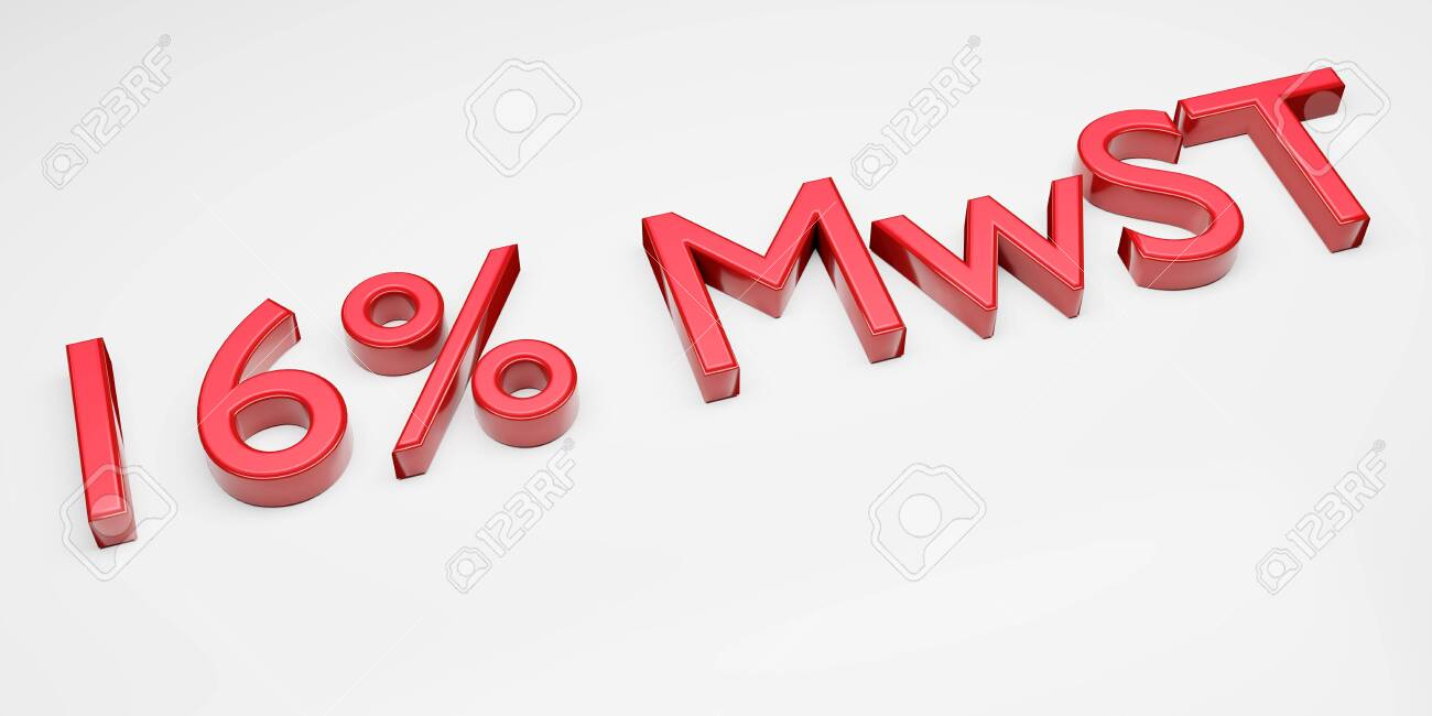 Duty and taxes. German tax cut on value-added tax (VAT). 3D render of 16 percent symbol. - 150117978