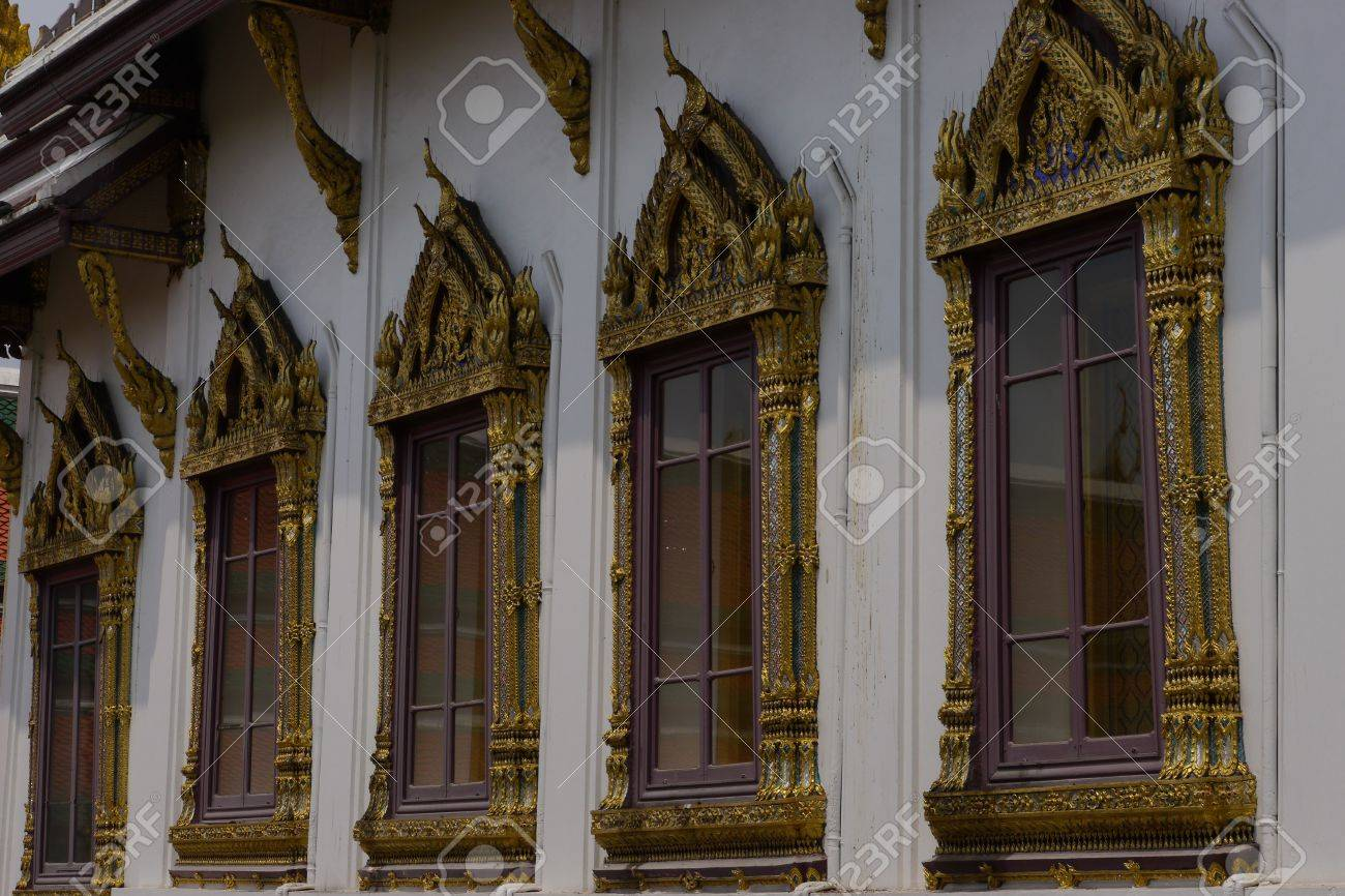 Antique Windows Antique Windows Of Thai Royal Temple Stock Photo Picture And