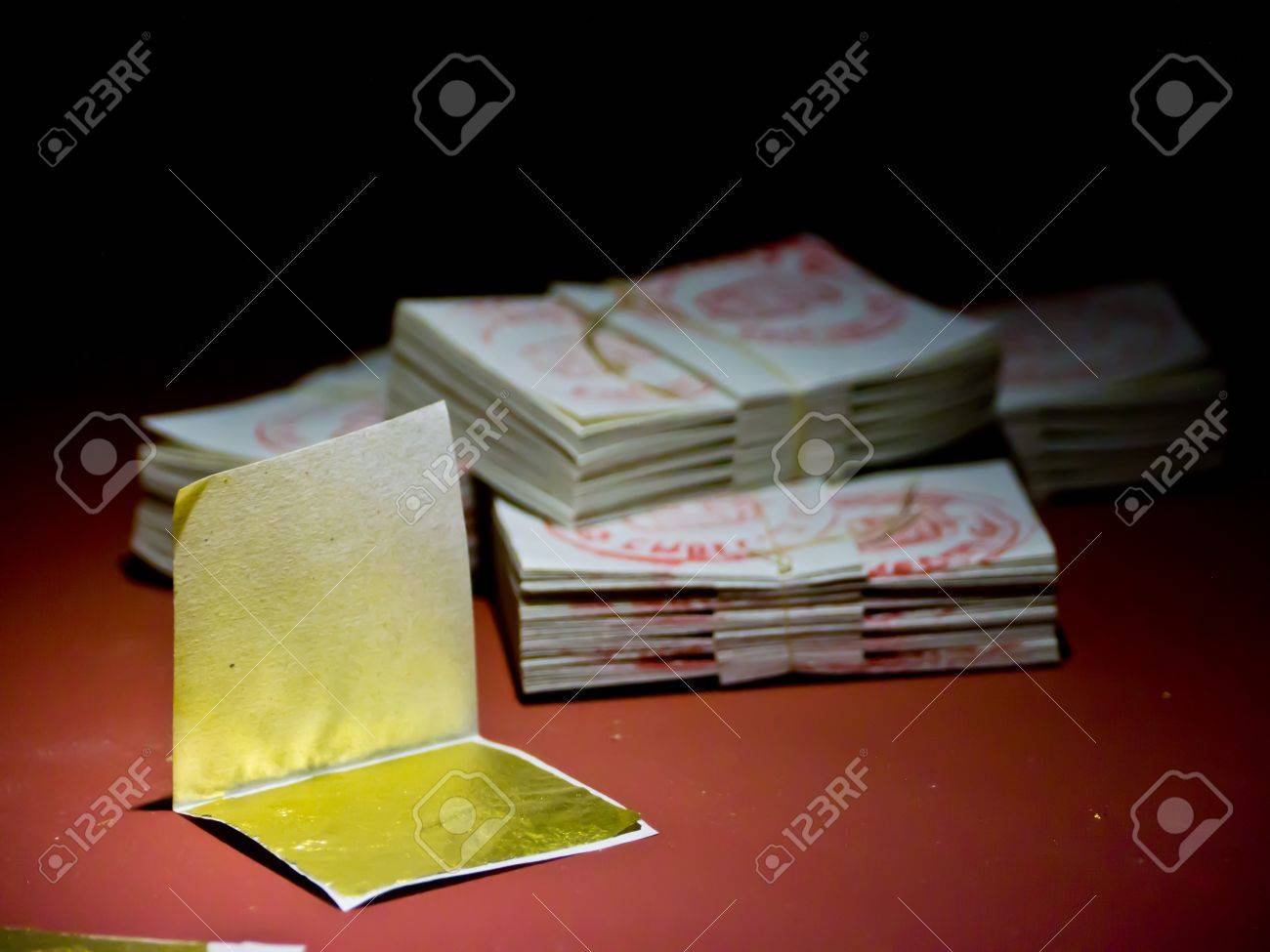 Gold leaf or gold foil is gold that has been hammered into extremely