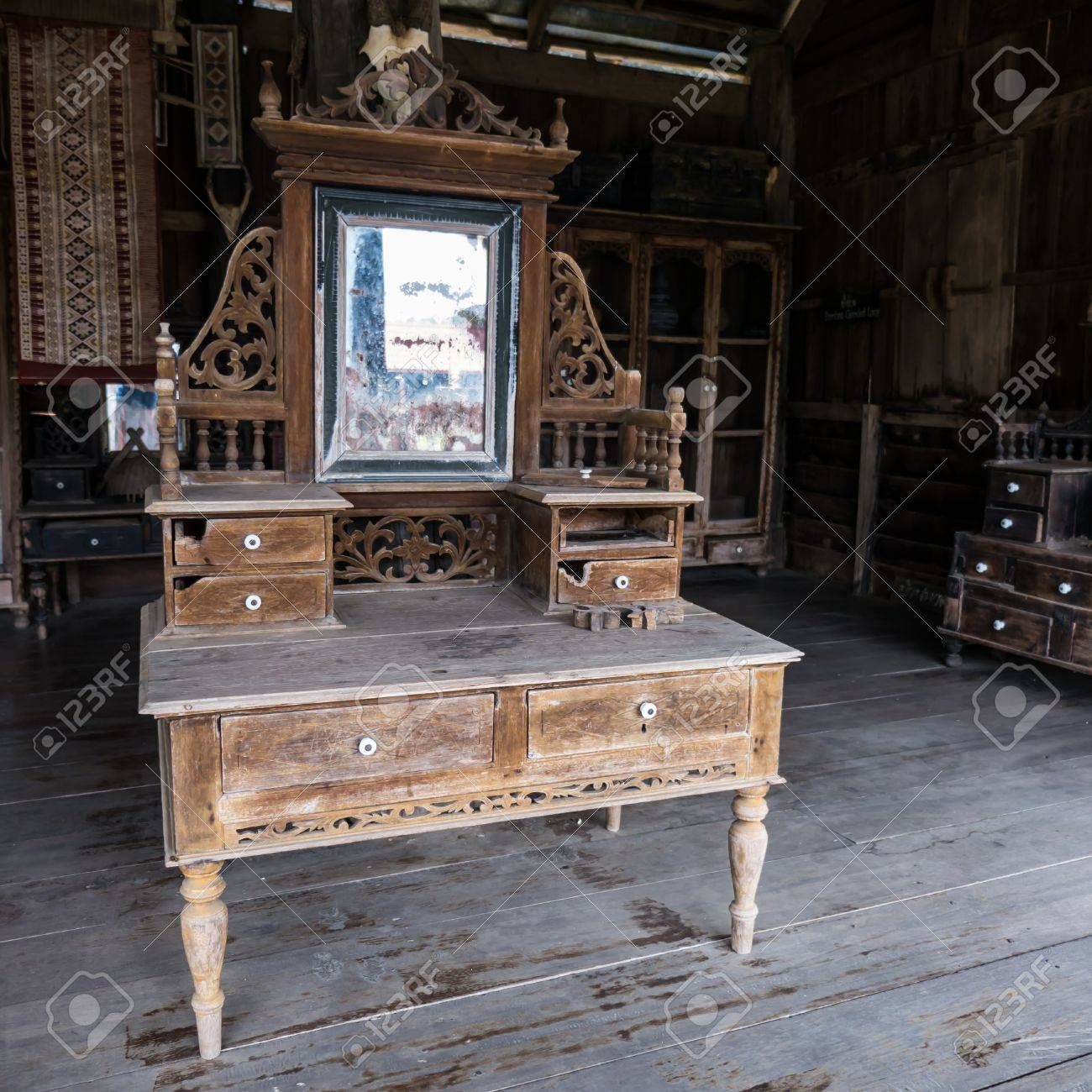 Vintage Dressing Table Old Fashioned Wooden Vanity In Old House Stock Photo Picture And Royalty Free Image Image 56031536